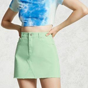 Forever 21 Mint Denim Mini Skirt